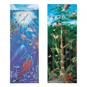Black Friday 2020 - Melissa & Doug Under the Sea and Rainforest Cardboard Floor Puzzle Set 2pc, Kids Unisex