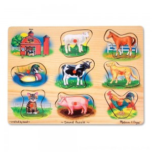 Black Friday 2020 - Melissa And Doug Farm Wooden Peg Sound Puzzle 8pc