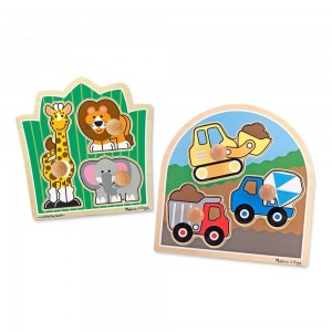 Black Friday 2020 - Melissa & Doug Jumbo Knob Wooden Puzzles Set - Construction and Safari 6pc
