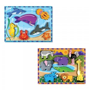 Black Friday 2020 - Melissa & Doug Chunky Puzzle 7pc Bundle - Safari & Sea Creatures