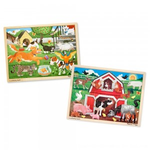 Black Friday 2020 - Melissa & Doug Animals Wooden Jigsaw Puzzle Sets - Pets and Farm 24pc each, 48pc