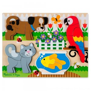 Black Friday 2020 - Melissa & Doug Pets Wooden Chunky Jigsaw Puzzle - Dog, Cat, Bird, and Fish (20pc)