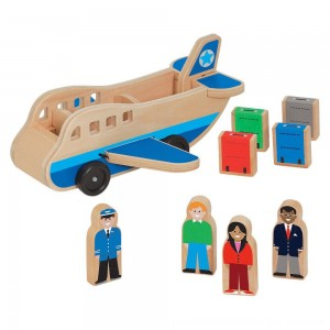 Black Friday 2020 - Melissa & Doug Wooden Airplane Play Set With 4 Play Figures and 4 Suitcases