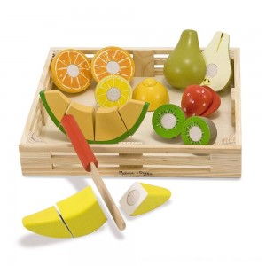 Black Friday 2020 - Melissa & Doug Cutting Fruit Set - Wooden Play Food Kitchen Accessory