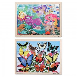 Black Friday 2020 - Melissa & Doug Wooden Jigsaw Puzzle Set - Mermaids and Butterflies 96pc