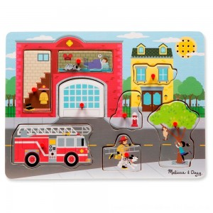 Black Friday 2020 - Melissa & Doug Around the Fire Station Sound Puzzle - Wooden Peg Puzzle (8pc)