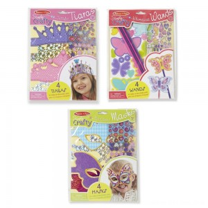 Black Friday 2020 - Melissa & Doug Simply Crafty Activity Kits Set: Terrific Tiaras, Marvelous Masks, Whimsical Wands (Makes 4 of Each)