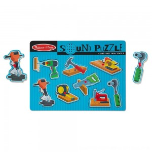 Black Friday 2020 - Melissa & Doug Construction Tools Sound Puzzle - Wooden Peg Puzzle (8pc)