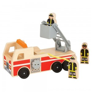 Black Friday 2020 - Melissa & Doug Wooden Fire Truck With 3 Firefighter Play Figures