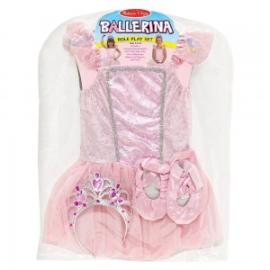 Black Friday 2020 - Melissa & Doug Ballerina Role Play Costume Set (4pc) - Includes Ballet Slippers, Tutu, Women's, Size: Small, Pink