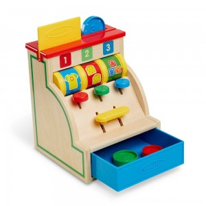 Black Friday 2020 - Melissa & Doug Spin and Swipe Wooden Toy Cash Register With 3 Play Coins and Pretend Credit Card