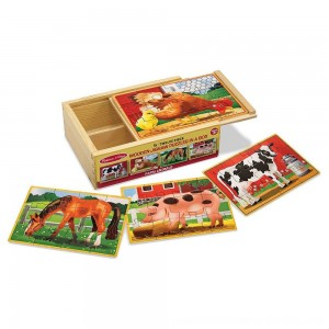 Black Friday 2020 - Melissa & Doug Farm 4-in-1 Wooden Jigsaw Puzzles in a Storage Box (48pc total)